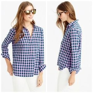 J. Crew Petite Gingham Popover Shirt Blue & Lilac